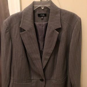 New Gray and White Pinstripe Suit Jacket.